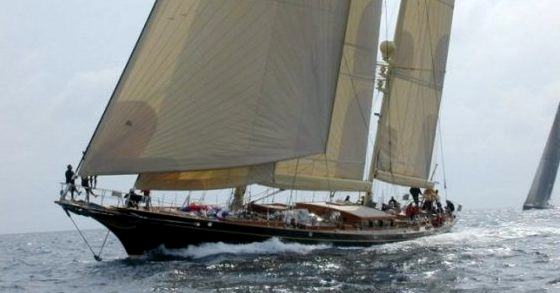 Hetairos under sail, 124' Cold-Molded Centerboard Ketch