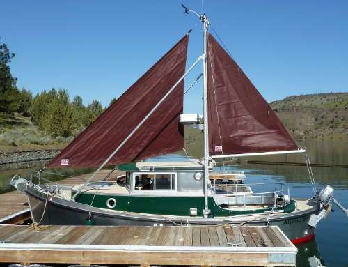Auxillary, Steadying Sails on the Timbercoast Troller 22