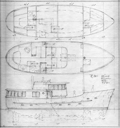 Design study tad roberts yacht design for Garden design trawler boat