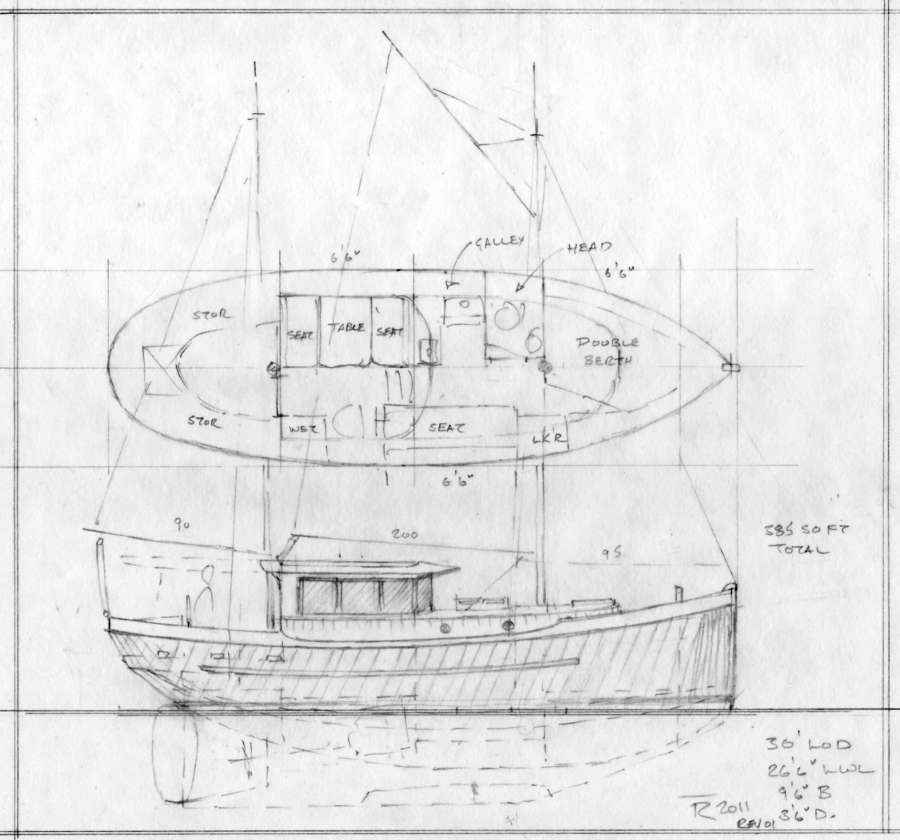 30 39 halibut ketch traditional small sea going motorsailer for Motor sailer boat plans