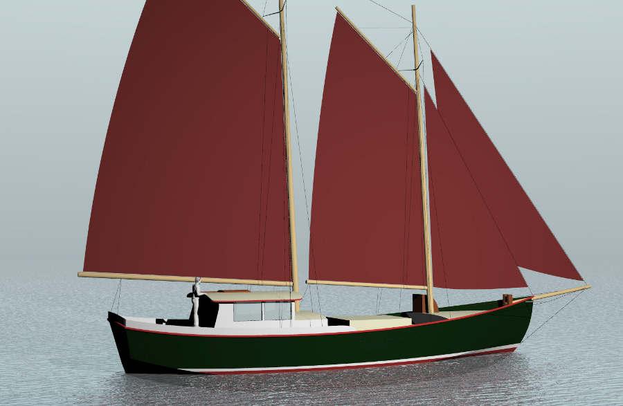 Steel 60 Cargo Schooner Sail Boat Designs By Tad Roberts
