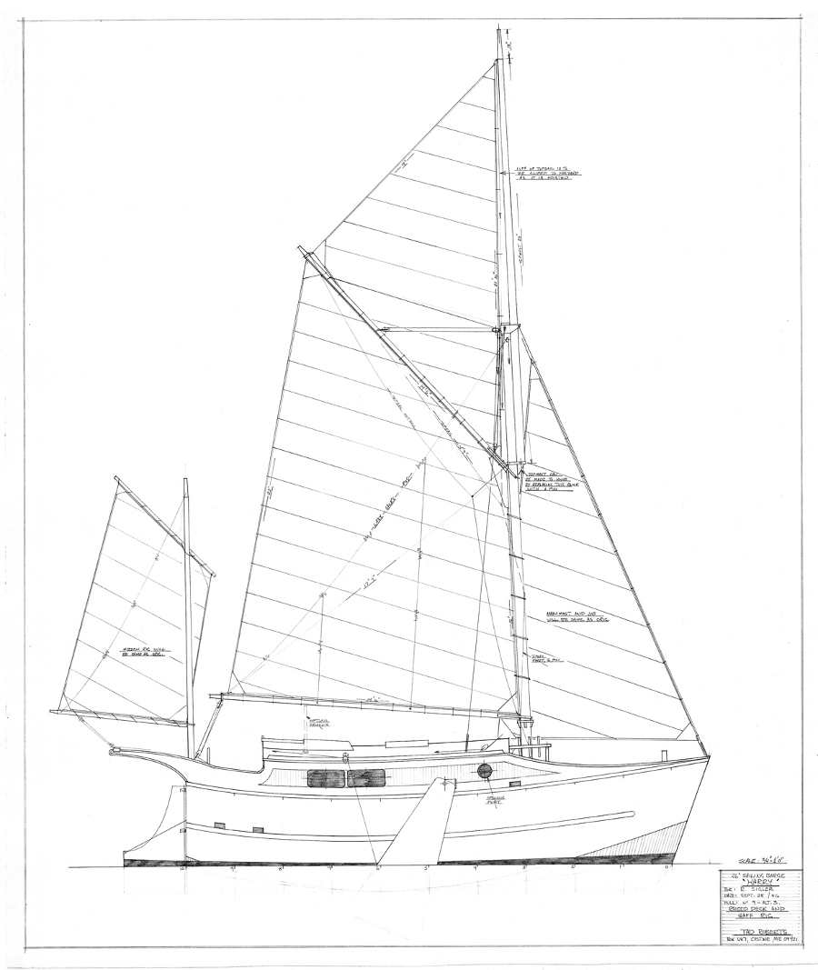 Harry, 26' Sailing Barge ~ Small Boat Designs by Tad Roberts
