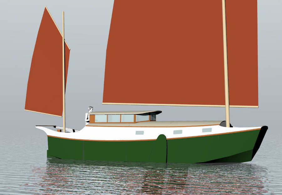 30' LOD sailing scow