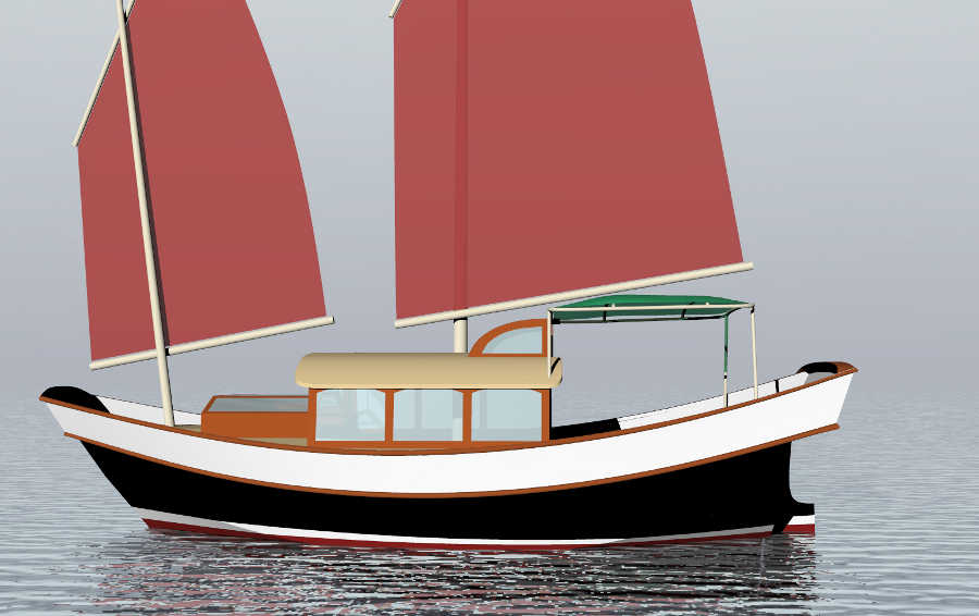 Nu Wa 20 20 Schooner Rigged Plywood Junk Small Boat