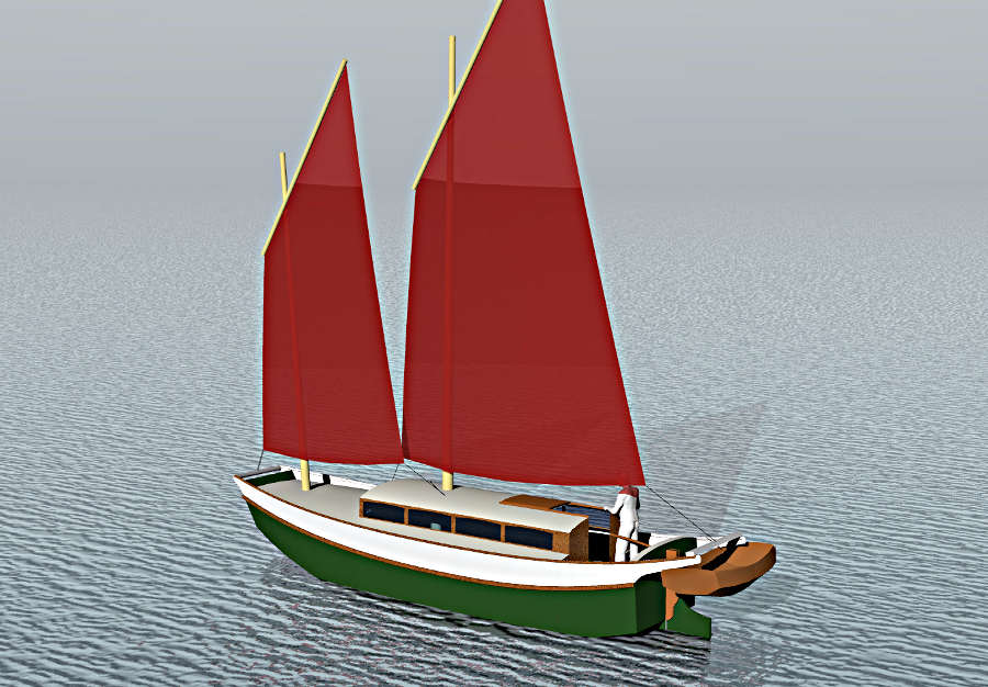 Laura Cove 28, Sailing Scow ~ Small Boat Designs by Tad ...