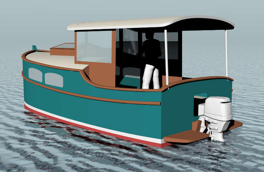 Cruising Shanty 20, 20' Trailerable Outboard Shanty Boat ~ Small Boat Designs by Tad Roberts