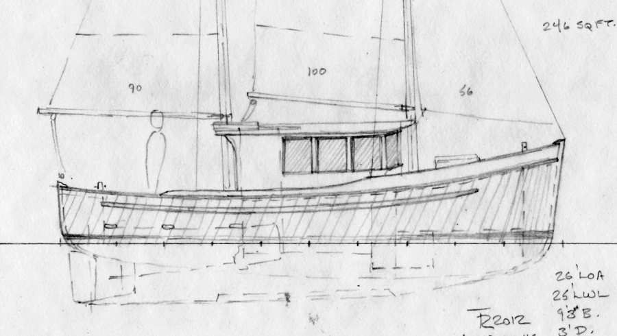 Northcoast 26. Double-ended Wooden Cruiser, Schooner Rig